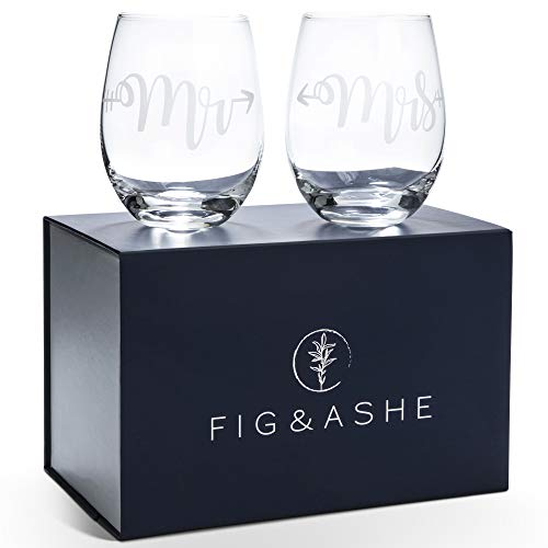 """Elegant """"Mr and Mrs"""" Wine Glasses, Set of 2, Stemless, For Wedding, Engagement, Newlyweds - Matching """"Him and Her"""" Etched Crystal Glass Set for Bride, Groom - Beautiful Glassware Gift Sets"""
