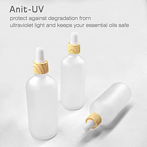 AMMAX 4 Pack Frosted Glass Dropper Bottles, Essential Oil Bottles With Eye Dropper Lids Perfume Sample Vials Essence Liquid Cosmetic Containers (50ml)