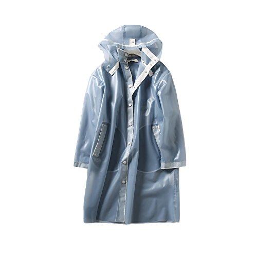 フォグ?ブルー ロングセクション ウインドブレーカー レインコート 感じる 快適な ジャケット レインコート 帽子 リムーバブル レインコート 軽量 レインウェア 防水 携帯袋付き