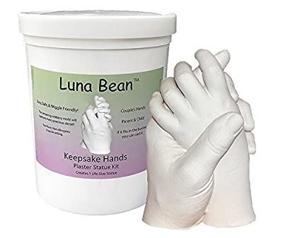 Luna Bean LARGE KEEPSAKE HANDS CASTING KIT | DIY Plaster Statue Molding Kit for COUPLES, FAMILY, WEDDING, ANNIVERSARY | 50% More Mold Making Materials and Larger Bucket