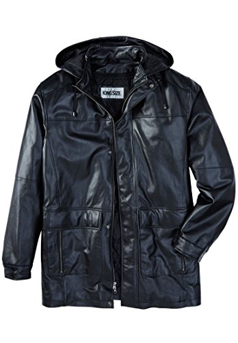 Kingsize Men's Big & Tall Leather Parka With Hood, Black Tall-3Xl by KingSize