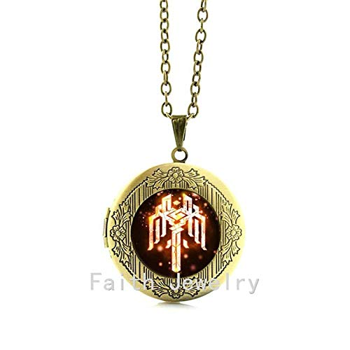 Pendant Necklaces - Hot Sale Fashion Alloy Silver Jewelry Dragon Age Necklace, Kirkwall Symbol Crest Jewelry Glass Cabochon Choker Necklace N708 - by TAFAE - 1 PCs