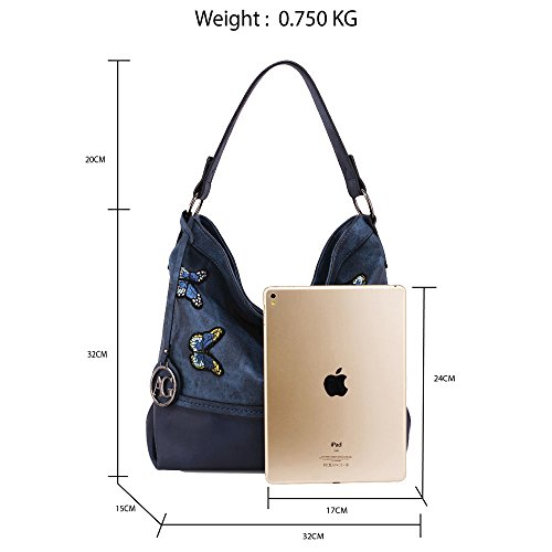 Handbags A4 Shoulder Extra Folder Easily Ladies For Design Work For Oversized Navy Bags Fits Laptop University Large 2 Hobo Big Office Women and Oqw5SZxqF