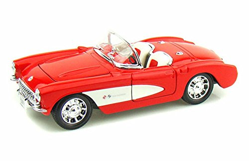 Welly 1957 Chevy Corvette Convertible, Red 29393 - 1/24 scale Diecast Model Toy Car ()