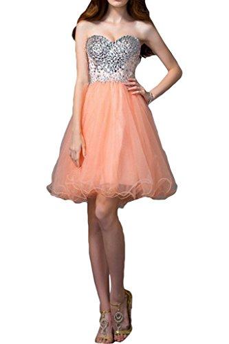 Orange Damen Cocktailkleid Ivydressing Herzform Abendkleid Festkleid Steine Promkleid Organza Zaertlich xvSSwz