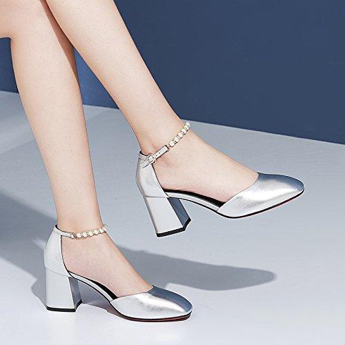 Sandali bordato 7cm Alla alti 35 tacco tacchi 36 Moda Donna Silver Da Fashion AJUNR Scarpe 0wx1vdnd
