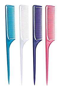 J & D Pastel Bone Wide Tooth Tail Comb (Assorted Colors)