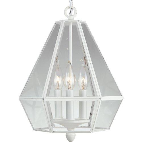 Progress Lighting P5017-30 Six-Sided, Bound, Clear, Flat Glass Foyer Fixture, Textured White