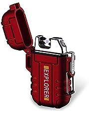 BOLLAER outdoor oplaadbare aansteker, innovatieve vlamloze plasma-aansteker, vlamloze winddichte aansteker voor kamperen wandelen avontuur, outdoor survival liefhebber beste cadeau (rood)