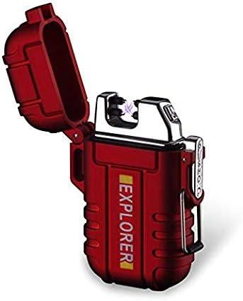 BOLLAER outdoor oplaadbare aansteker innovatieve vlamloze plasmaaansteker vlamloze winddichte aansteker voor kamperen wandelen avontuur outdoor survival liefhebber beste cadeau rood