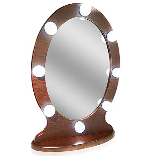 Waneway Lighted Vanity Mirror Hollywood Makeup Mirror with Lights, Light up Oval Table-Top Mirror Illuminated Cosmetic Mirrors with Stand for Dressing Desk, Dimmable LED Bulbs Touch Control, Espresso