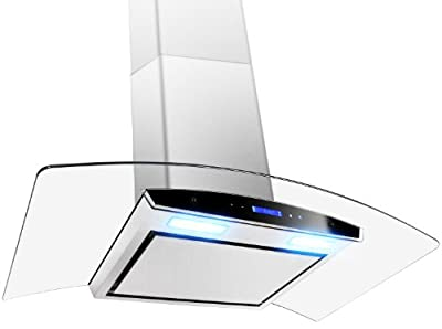 "GOLDEN VANTAGE 36"" GV198KZ4-36 European Style Wall Mount Stainless Steel Range Hood Vent Touch Panel Control Unique Flat Baffle Filter Design"