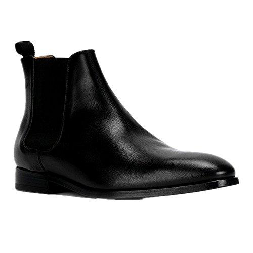 Jinfu Chelseaboots Mens Läder Spetsig Tå Tillfällig Klänning Stövlar Boots Formella Skor (us 7)