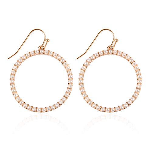 Sparkly Simple Lightweight Geometric Open Hoop Drop Earrings - Cut-Out Dangles Teardrop/Pear/Pointy Oval/Marquise/Circle Cubic Zirconia Crystal/Multi Rhinestone/Acrylic Pearl (Circle - Gold/Pearl) ()