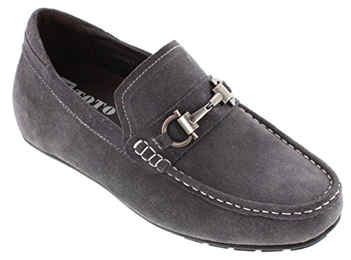 Shoes Elevator H3208 Loafer 2 Toe TOTO Increasing 2 Moc Slip Height inches Taller Grey on q80SnT0