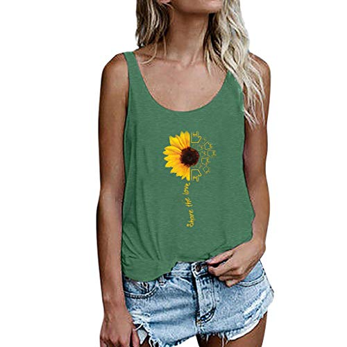 Drindf Womens Top Women's Summer Sleeveless Tops, Casual Tank Tops Size S-3XL Sunflower Vest T Shirt Blouse Green