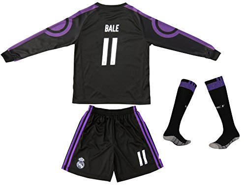 2016/2017 Real Madrid BALE #11 Away Black Long Sleeve Soccer Kids Jersey & Short Set Youth Sizes (8-9 Years)
