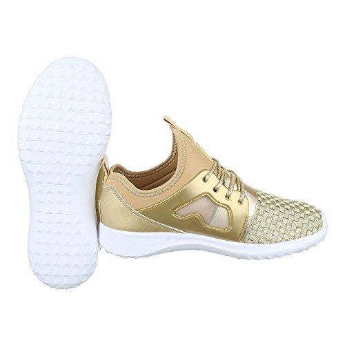 Ital-Design Sportschuhe Damenschuhe Geschlossen Schnürer Schnürsenkel Freizeitschuhe Gold