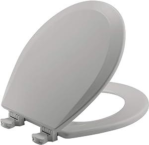 CHURCH 540EC 162 Toilet Seat with Easy Clean & Change Hinge, ROUND, Durable Enameled Wood, Silverado