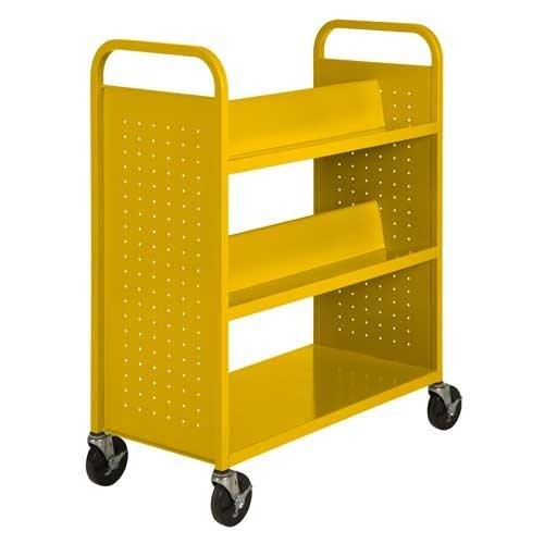 1 Flat Bottom Shelf - Sandusky Lee SVF336-EY Combination Bottom Flat Shelf Book Truck, 19
