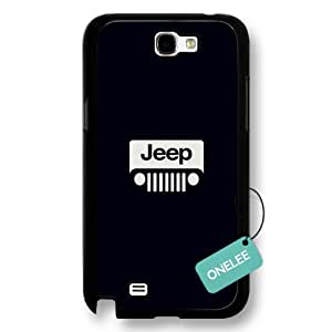 Jeep Logo Hard Plastic Phone Case Cover for Samsung Galaxy Note 2 - Black