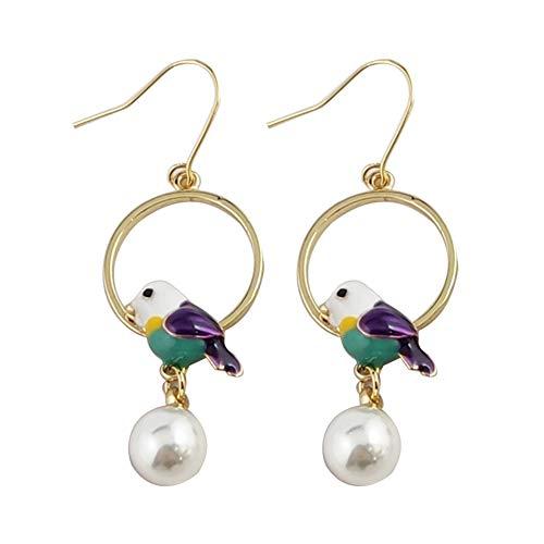 Fashion Earrings, gLoaSublim Fashion Women Enamel Bird Faux Pearl Circular Charm Hook Earrings Jewelry Gift - Purple