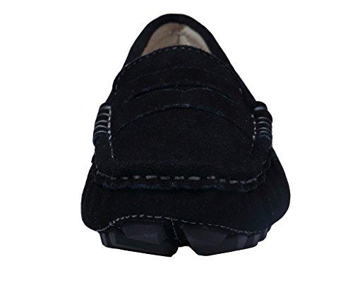 Bdawin Mujer Casual Zapatos de Conducción Gamuza Mocasines de Cuero Negro