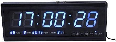 Reloj digital ZJchao, grande, con luz LED, para pared o escritorio, indica la temperatura y tiene calendario, metal, azul, 48 cm l x 5 cm w x 18.5 cm h: Amazon.es: Hogar