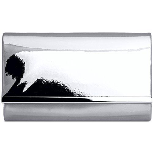 clutch pour soirée enveloppe chaînette CASPAR élégant main Sac laqué Argenté avec Pochette à longue femme de TA378 effet métallisé qx00nwISA