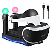 KALDOREI 4-in-1 PSVR Charging Display Stand with Playstation VR Storage Headset Holder Showcase, 2 PS Move Controllers Charger Docking Station and Processor Unit Stand