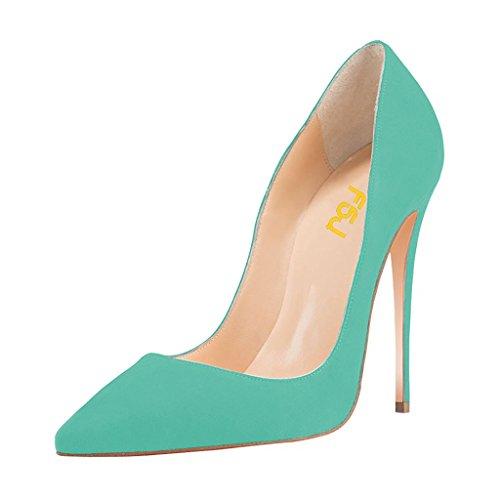 FSJ Women Sexy Suede Pointed Toe Pumps 12 cm High Heels Stilettos Prom Shoes Size 9 Aquamarine ()