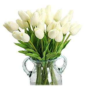 Packozy 20 pcs Real-Touch Artificial Tulip Flowers Home Wedding Party Decor(White) 39