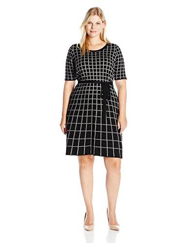 Gabby-Skye-Womens-Plus-Size-Elbow-Sleeved-Grid-Print-Sweater-Dress