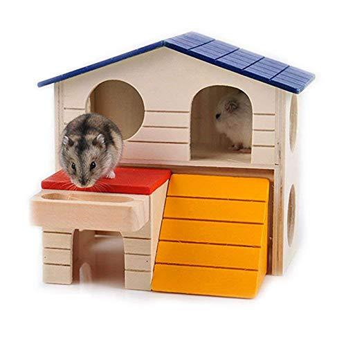 DAYOLY Hamster House de Madera, Rosa de Lujo, Dos Capas de Madera ...