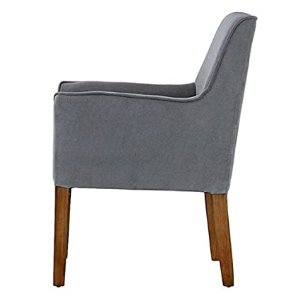 Modern Grey Linen Upholstered Armchair with Wooden Legs Accent Chair Antique  Wood Vintage Svitlife - Amazon.com: Modern Grey Linen Upholstered Armchair With Wooden Legs