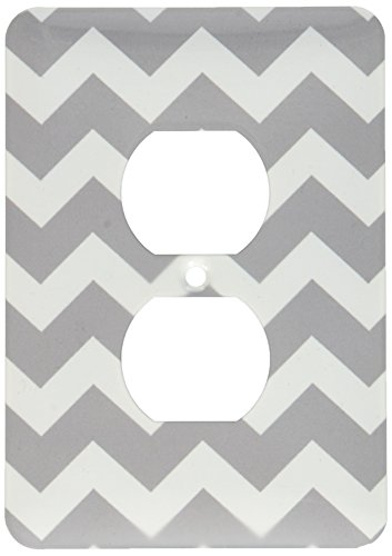 3dRose lsp_179676_6 Charcoal Grey and White Zig Zag Chevron Dark Gray Zigzag Pattern Light Switch Cover
