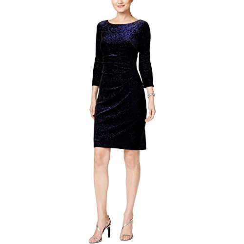 Jessica Howard Womens Metallic-Dot Velvet Party Dress Black 6