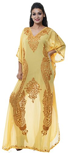 Georgette Caftan (Odishabazaar Georgette Kashmiri Embroidered Womens Beachwear Cover up Swimsuit Swimwear Dress Caftan (color-02)