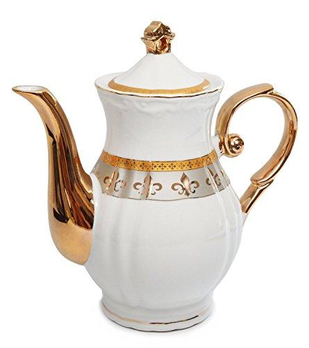 Royalty Porcelain 15pc Fleur-de-Lis Tea Set, Service for 6, 24K Gold-Plated Bone China Tableware by Royalty Porcelain (Image #3)