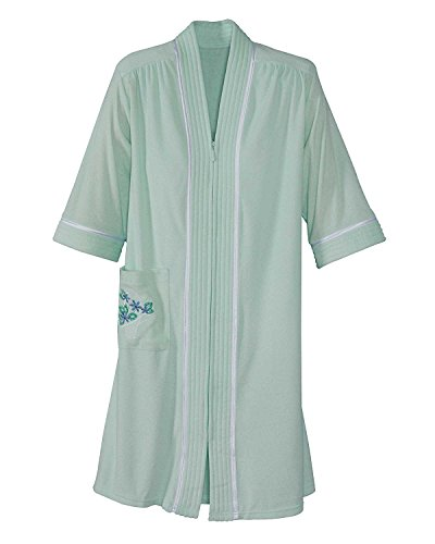 National Soft Knit Terry Lounger, Mint, 1X - Misses, Womens (Womens Plus Size Robes)