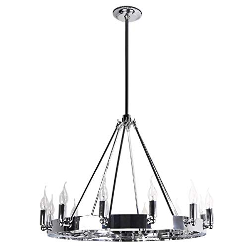 7Pandas 12-Light Indoor Retro Chandeliers E12, Antique Pendant Lighting, for Kitchen Island, Living Room, Dining Room, Farmhouse, Polished Chrome