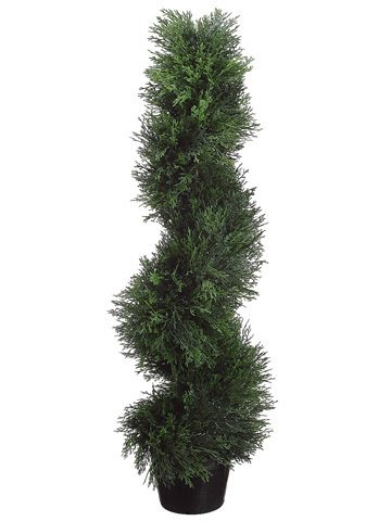 (TWO Pre-potted 3' Spiral Pond Cypress Artificial Topiary Trees)