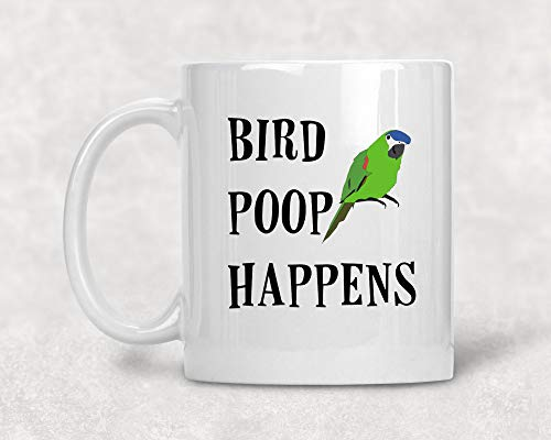 Funny parrot mug, bird poop happens, parrot gift, bird gift, pet parrot, bird mug, companion bird, pets, parrots, feathered friend