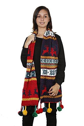 Womens Christmas Tree Reindeer Snowflake Reversible Knit Wraparound Scarf Shawl (Navy Pom ()