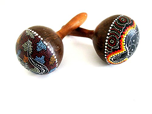 - Maracas Large Coconut Shell Wood Maracas Rattle Shaker Percussion Instrument HAND PAINTED PAIR - PROFESSIONAL SOUND/ QUALITY - JIVE BRAND