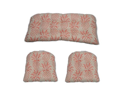 3 Pieceウィッカークッションセット – インドア/アウトドアウィッカーLoveseat Settee & 2一致する椅子クッション – Coral Richloom   B07146H2Y9