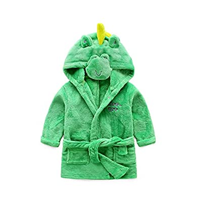 Mesinsefra Little Girl's Coral Fleece Bathrobe Unisex Kids Robe Pajamas Sleepwear