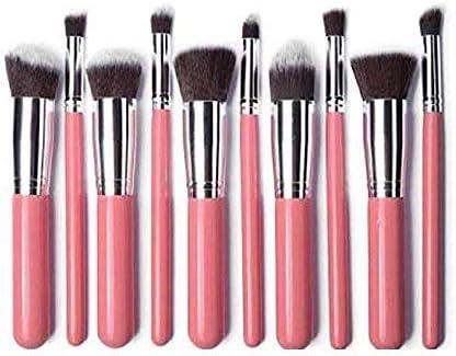 Brain Freezer Makeup Brush Set Synthetic Cosmetics Foundation Powder Concealers Blending Eye Shadows Face Makeup Brush Sets (10pcs, Pink Silver)