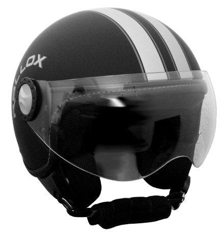 Jethelm Helm Motorradhelm Rollerhelm RETRO RALLOX H730 schwarz/matt (S, M, L, XL, XXL) Größe: M