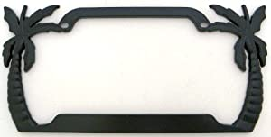 palm trees license plate frame black plated metal